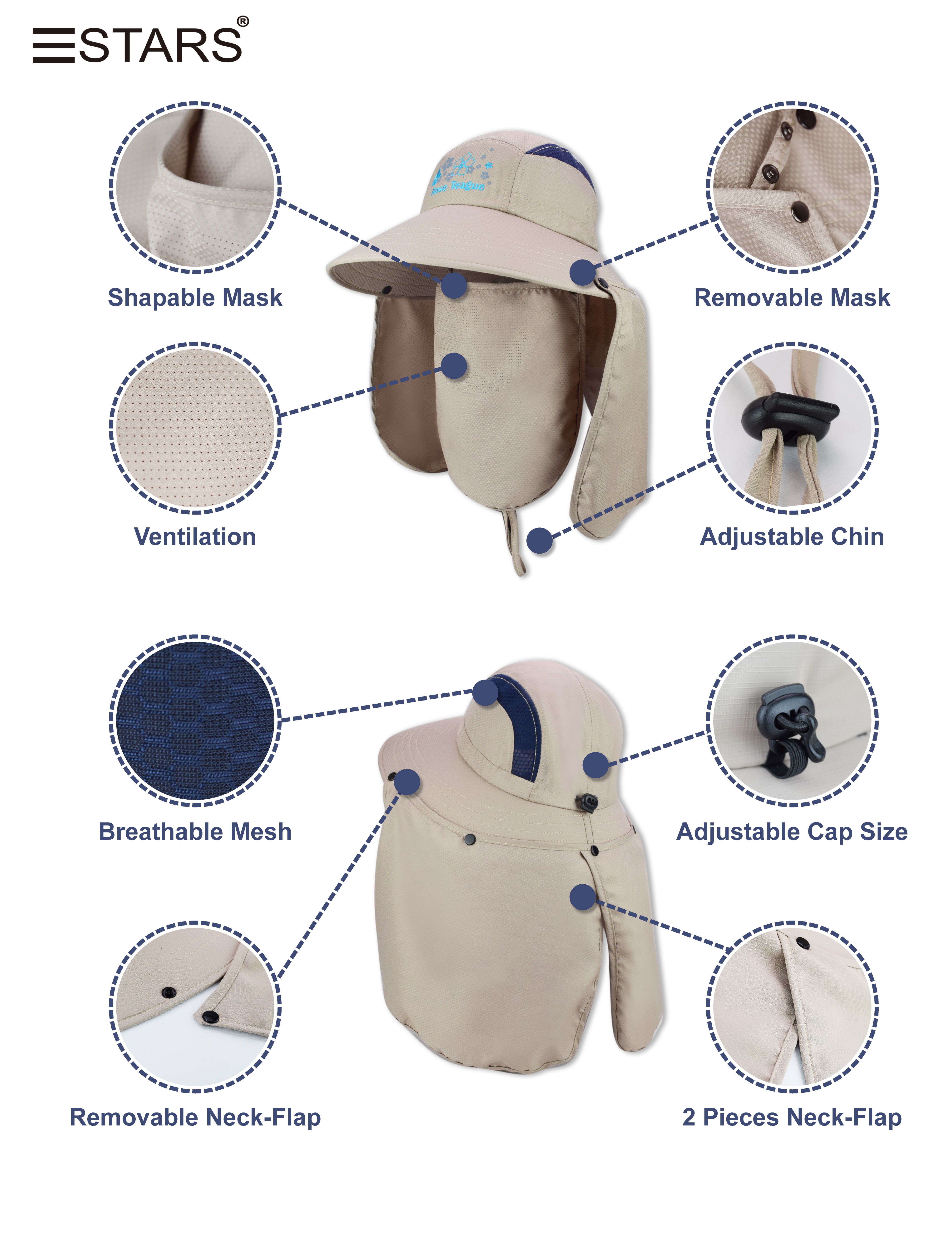 Outdoor hats with removable mask high quality Sansing Hats